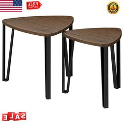 2 Nesting Coffee Table Set Tall End Round Coffee Stand Table