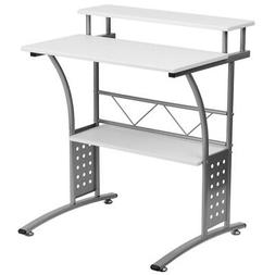 Maple Computer Desk with Top and Lower Storage Shelves