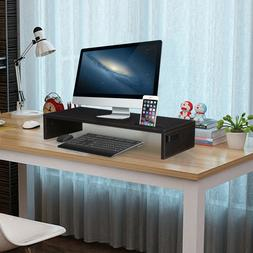 Clear Wood Computer Stand Laptop Monitor Riser TV Desk Table