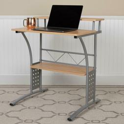 Flash Furniture Clifton Maple Computer Desk With Top And Low