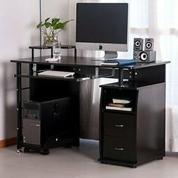Computer Desk With Drawers and Keyboard Tray For Extra Stora