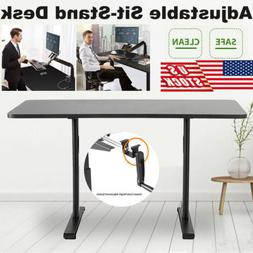 Height Width Adjustable Sit-Stand Standing Desk w/ Manual Cr