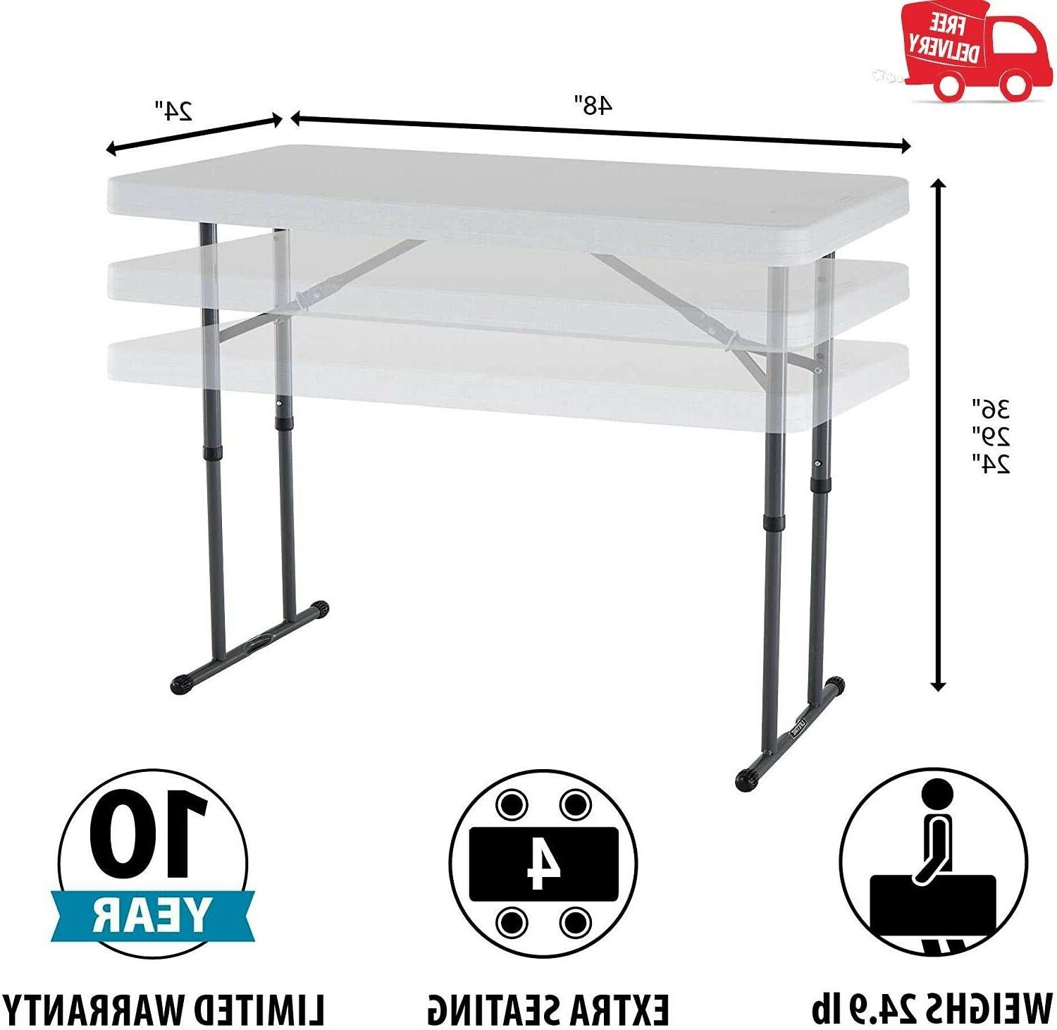 Lifetime 80160 Commercial Height Adjustable Utility Table, 4 Feet, White