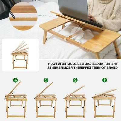 Adjustable Bamboo Notebook Computer Desk Stand Bed Tray US