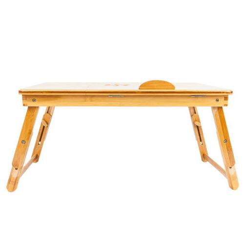Bamboo Folding Computer Notebook Table Bed Desk Tray