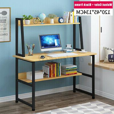 Computer Laptop Table Study Writing Office Workstation Shelves