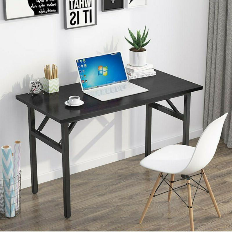 computer desk table wood office filoding pc