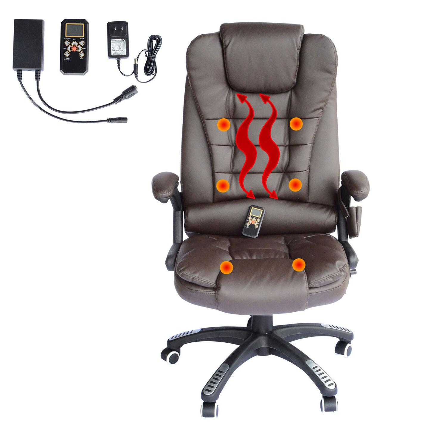 Executive Heated Computer Desk Chair - Brown