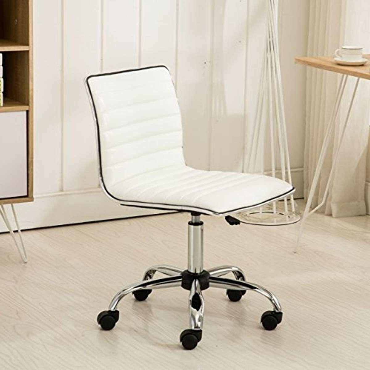 High Back Leather Office Chair Ergonomic Computer Desk Seat White