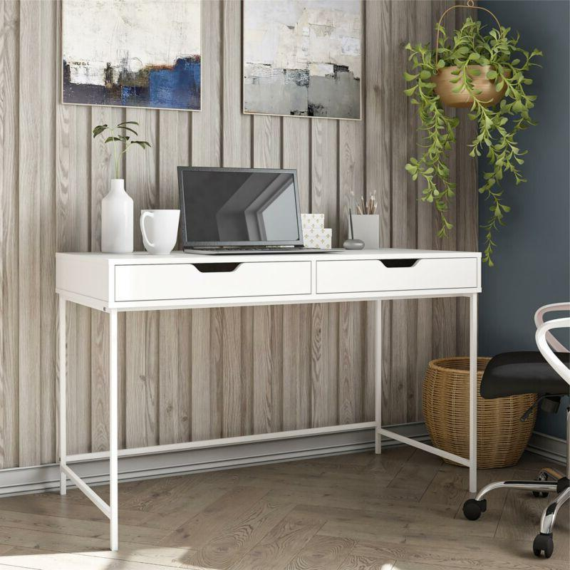 jordyn computer desk with 2 drawers white