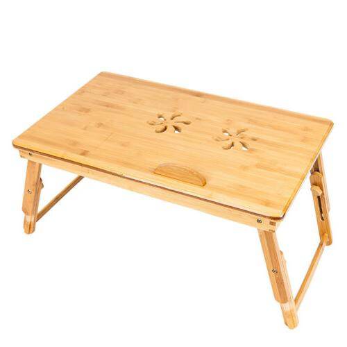 Bamboo Folding Laptop Computer Desk Bed Stand