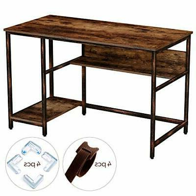 Rustic Computer Home Desk with 2 Storage