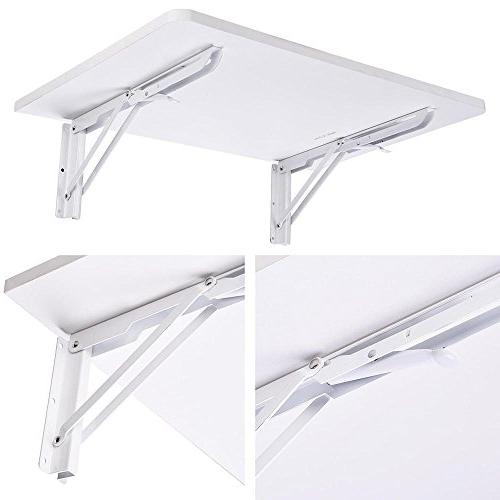 """Yescom Wall Mounted Folding Computer Desk 5/8"""" x 15 66lbs Table White"""