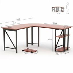 L-Shaped Corner Desk with Side Storage Large Top Surface and