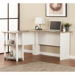 L-Shaped Office Desk with Side Storage Open Bookshelves Home