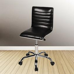 Mid Back Ribbed Leather Home Office Chair Computer Desk Task