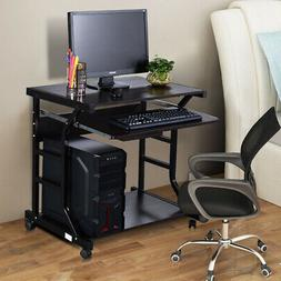 Rolling Computer Desk Home Office Workstation Table with Sli