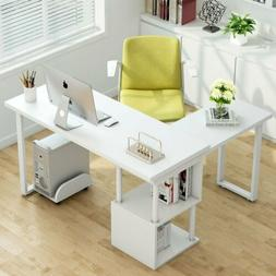 Rotating Corner Computer Writing Desk L Shaped with Storage