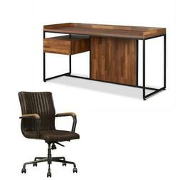 Sara 2 Piece Home Office Desk and Leather Rustic Swivel Offi