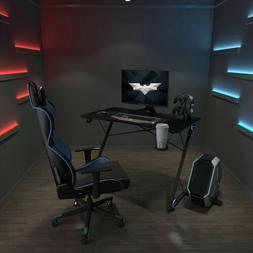 Z-Shaped Gaming Desk Racing  w/ LED Light &Cup Holder Home C